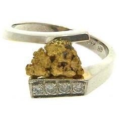 Custom Alaskan Gold Nugget and Diamond Ring. www.goldrushfinejewelry.com