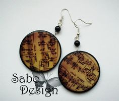Earrings ETERNAL SONATA with music sheet pattern and by SaboDesign.