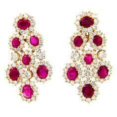 HARRY WINSTON Ruby Diamond Yellow Gold Earrings. 18 cts of diamonds, 35 cts of rubies.