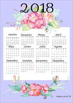 Calendários 2018 para baixar e imprimir