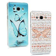 nice Samsung Galaxy J5 2016 Funda Cubierta - Lanveni 2pcs Elegante Carcasa Rigida PC ultra delgada para Samsung Galaxy J5 2016 (no para la versión 2015) Translúcido Protective Case Cover - Patrón Diseño mariposa