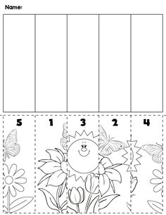Spring flowers & bugs preschool cut and order for numbers Package includes five no prep worksheets. Cutting Activities, Autism Activities, Fun Activities For Kids, Kindergarten Activities, Teaching Kids, Kids Learning, Ordering Numbers, Preschool Worksheets, Preschool Printables