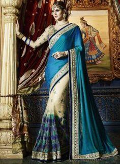 Blue Beige Embroidery Work Silk Georgette Designer Wedding Half Sarees http://www.angelnx.com/Sarees/Wedding-Sarees