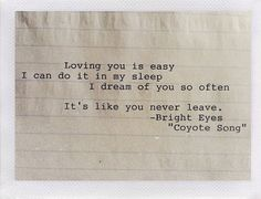 Bright Eyes Custom Typewriter Quote on aged lined paper on Etsy, $5.00