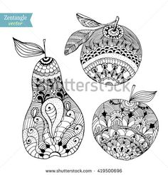 Find mandalas frutas stock images in HD and millions of other royalty-free stock photos, illustrations and vectors in the Shutterstock collection. Doodle Art Drawing, Zentangle Drawings, Doodles Zentangles, Mandala Drawing, Mandala Painting, Zentangle Patterns, Mandala Art, Fruits Drawing, Fruit Picture