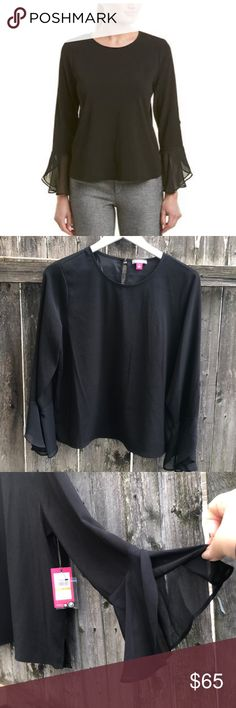 """IMAN Global Chic The /""""Must Have/"""" Soft /& Flowy Ruffle Blouse BLACK NWT"""