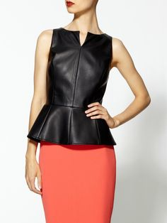 Vegan Leather Peplum Top.