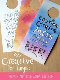 Free printable creative door hangers.