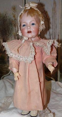Hilda Toddler by Kestner, Cabinet Size Antique Lace, Antique Dolls, Vintage Dolls, Pink Wool Coat, Baby Girl Dolls, Kewpie, Bear Doll, Bisque Doll, Doll Houses