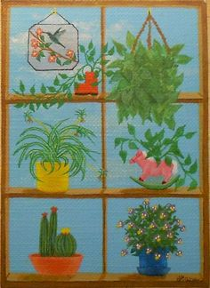 2014 Window Plants 4, Potted Plants, Boot Planter, Rocking Horse Planter, Hummingbird Stained Glass, ACEO Art Card, packrat-2013@ebay