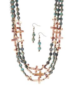 Look at this #zulilyfind! Patina & Brown Cross Multistrand Necklace & Drop Earrings by Ethel & Myrtle #zulilyfinds