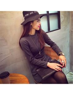 New In Europe And America Minimalist Solid Color Wild Section Badge Slim Thin Bottoming Dress Women Grey JY15042106-01.http://www.clothing-dropship.com
