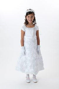 Flower Girl Dresses -   Girls Dress Style 702 -Choice of White or Ivory Satin Dress with Floral Detailing