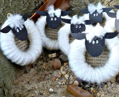"Cute Sheep Craft We were looking for some Sheep and Lamb inspiration sheep from Spun… Use for ""feed my sheep"" John Our life verse can be glued in the middle. Used white curtain rings from bath Dept in Walmart New Year's Crafts, Vbs Crafts, Bible Crafts, Hobbies And Crafts, Holiday Crafts, Crafts For Kids, Easter Crafts Kids, Easter Decor, Kids Diy"