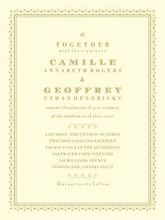 Heirloom Romance - Thermography Wedding Invitations - Jenny Romanski - TH Gold - Neutral : Front