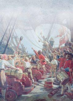 Danish navy in combat against Norwegian fleet