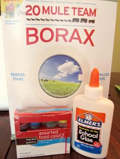 Slime: Borax solution: Spoonful Borax + 1 Cup Water  (1 inch of glue + 3 TBS Water + food coloring) + 1 TBS borax solution stirred = SLIME!