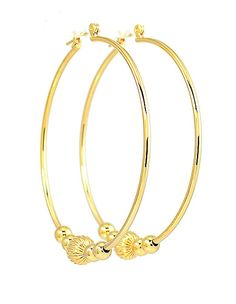 14k Gold Plated Hoop Earrings 5 Beads 2 Inches Drop Made In Usa Jewelry Watches Fashion Ebay