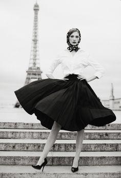 true Paris style.   styling: Gillian Phelan  make-up: Jennifer Mulertt  hair: Michael Marenco  clothes: Ooh la la Vintage