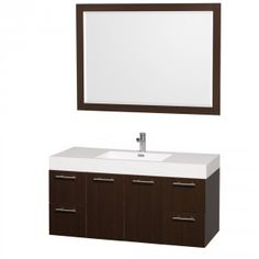 Amare 48 Wall-Mounted Bathroom Vanity Set with Integrated Sink - Espresso