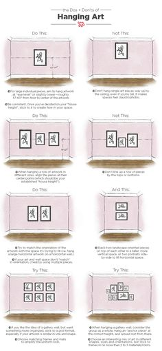 Dos and Don'ts of Hanging Art: Tips & Measurements As a designer, poorly hung art is probably my number one design bugbear. Our pictorial guide to hanging art like a pro will help you avoid many all-too-common design pitfalls. Decoration Ikea, Decor Scandinavian, Hanging Artwork, Makeover Tips, Rental Makeover, Interior Design Tips, Luxury Interior, My New Room, New Wall