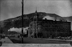 Strater Hotel. By Jacob A. Boston. Circa 1890 looking South toward Smelter Mountain. Notice the horse drawn street car in the photo.