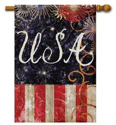 "USA Firecrackers House Flag - 28"" x 40"" - Flag Trends - 2 Sided Message"