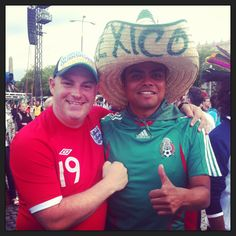 Brasil National Director Kev Clark, with a Mexico fan at Euro 2012, yeah, a Mexico fan! Warsaw fan zone.