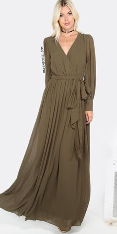 Cuff Sleeve Surplice Wrap Dress OLIVE