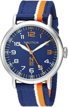 Blue dial with orange second hand. Snap down case back; Face Men, Bracelets For Men, Omega Watch, Chronograph, Watches For Men, Brass, Silver, Blue, Casual