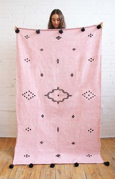 Moroccan Pompom Throw – Pink Mix, Berber Motifs. From Baba Souk