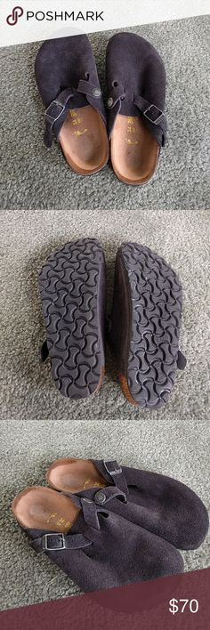 new Birkenstock Boston clogs 34 Very Dark gray /black suede Size euro 34, 220, L3, Narrow Can fit size 4-5 women and 1.5-2.5 probably in kids Like New condition, never worn. Smoke-free home Happy poshing! Birkenstock Shoes