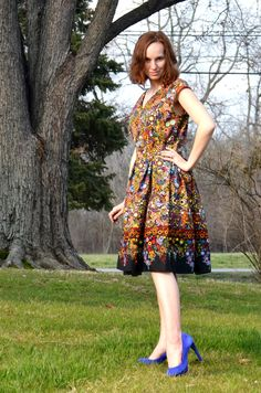 Vintage Border Print Dress feat. Effervescence