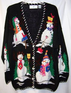 DESIGN OPTIONS Ugly CHRISTMAS L Sweater Snowman Beaded Tree Black #DesignOptions #Cardigan