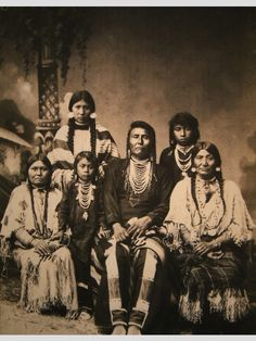 Chief Hin-mah-too-yah-lat-kekt of the Nez Perce Indians, with family. Circa 1880