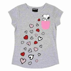 97c9489df37 Peanuts Girls Gray Snoopy Pocket Heart Glitter Valentine Tee Shirt T-Shirt
