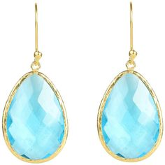 Gold single drop earring blue topaz (£130) ❤ liked on Polyvore featuring jewelry, earrings, gold jewelry, gold jewellery, gold drop earrings, drop earrings and yellow gold earrings