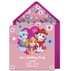 Customizable, free PAW Patrol Pup Power online invitations. Easy to personalize and send for a PAW Patrol birthday party. #punchbowl