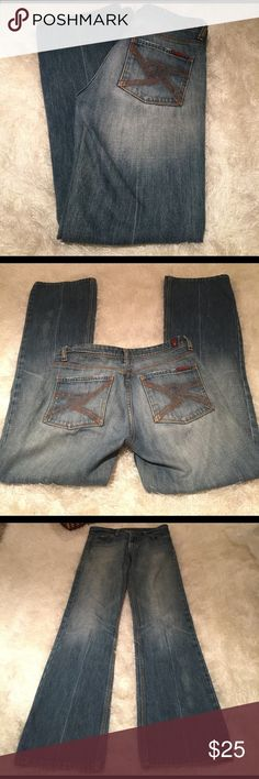 7 for all Mankind jeans sz 29 Great pair of 7 for all Mankind jeans. Really pretty wash; cute back pocket detailing with tiny blings. Blings are missing here & there; does not affect the look & so small no one will notice. 100% cotton jeans. Ends look good with minimal wear. Inseam measures 33 inches. Zipper flows smoothly. No stains. Bundling is fun; check out my other items! No price talk in comments. No trades or holds. 7 For All Mankind Jeans Boot Cut