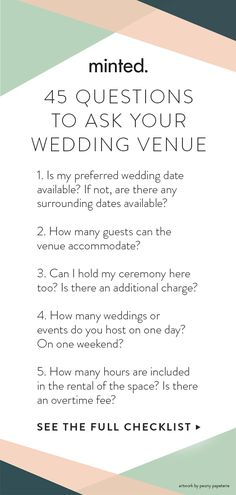 On the hunt for the perfect wedding venue? To help, we've come up with this comprehensive list of questions to ask a wedding venue—before you put down a deposit. Wedding Planning Guide, Wedding Tips, Event Planning, Wedding Events, Free Wedding Venues, Wedding To Do List, Budget Wedding, Wedding Vendors, Weddings