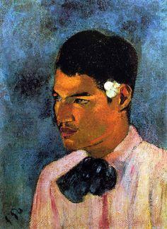 Paul Gauguin - Post Impressionism - Tahiti - Jeune homme à la fleur - Young man with a flower - 1891