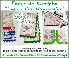 """Kitchen cloths with """"Typical north portuguese Valentine's scarf"""" stamped, with crochet beak (100% cotton thread)."""