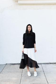 EVERLANE Sweater (Similar here) / MANSUR GAVRIEL Bag (Shop totes) / ZARA Skirt (Similar here) and...