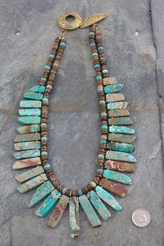 Natural Top Foré Blue Sea Sediment Imperial Jasper Stick Déclaration Collier
