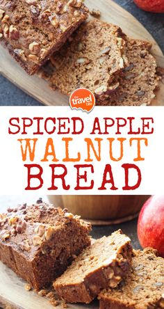 Spiced Apple Bread With Walnuts – The Travel Bite This spiced apple walnut bread recipe is a perfect for breakfast in the morning or enjoying with a Apple Walnut Bread Recipe, Apple Cinnamon Bread, Banana Bread, Monkey Bread, Dessert Bread, Dessert Recipes, Desserts, Apple Recipes, Holiday Recipes