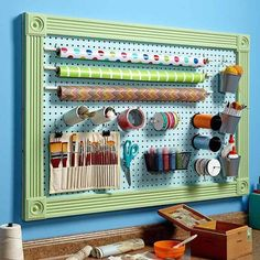 Pegboard is everywhere-panels, hooks, doodads, you name it. Every hand tool in the hardware store is hanging on pegboard. Every bag of bolts, roll of duct tape and tin of Tic Tacs at the checkout … Sewing Room Organization, Craft Room Storage, Storage Organization, Organizing, Tool Storage, Storage Ideas, Craft Rooms, Ribbon Storage, Studio Organization