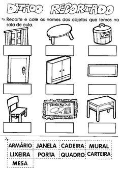 Ditado recortado - objetos da sala de aula