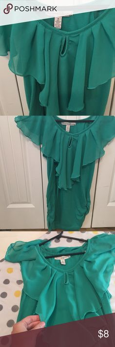 Turquoise top blouse Cute flowy neck top. Side rouching. French Laundry. Size medium. Good condition. french laundry Tops Blouses