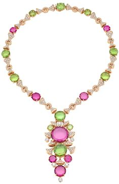 Bvlgari pink and green gemstone and diamond necklace