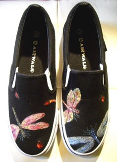 Custom Designed Shoes with Dragonflies